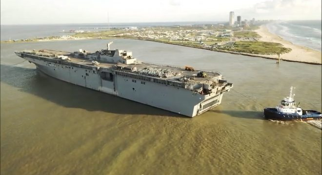 Bonhomme Richard Hull Completes Final Voyage to Texas Shipbreaker