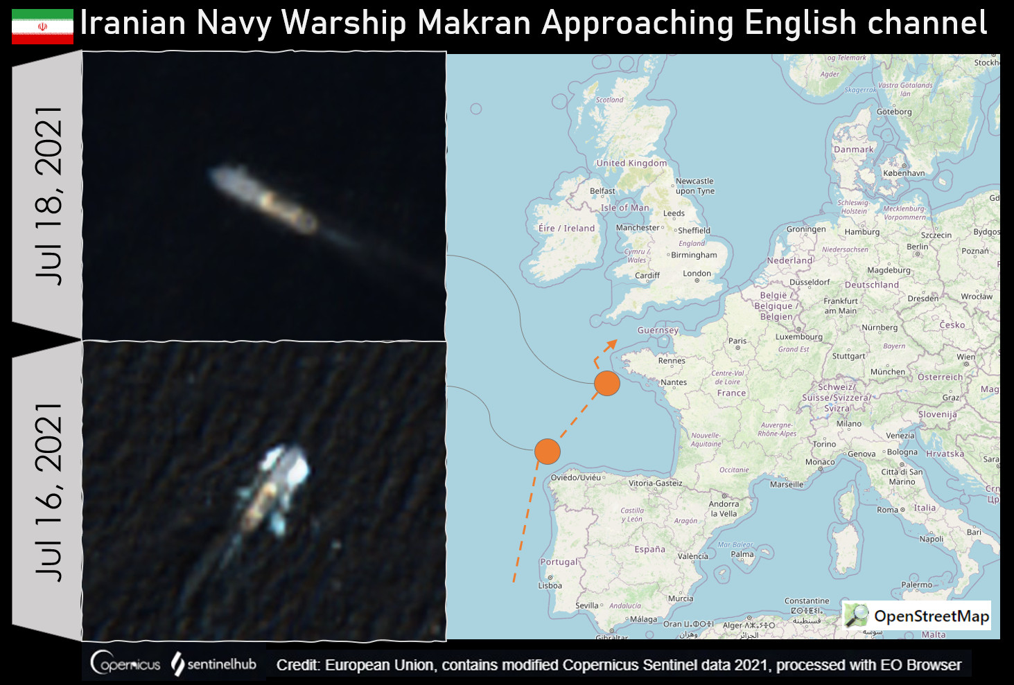 Two Iranian Warships Spotted Near English Channel
