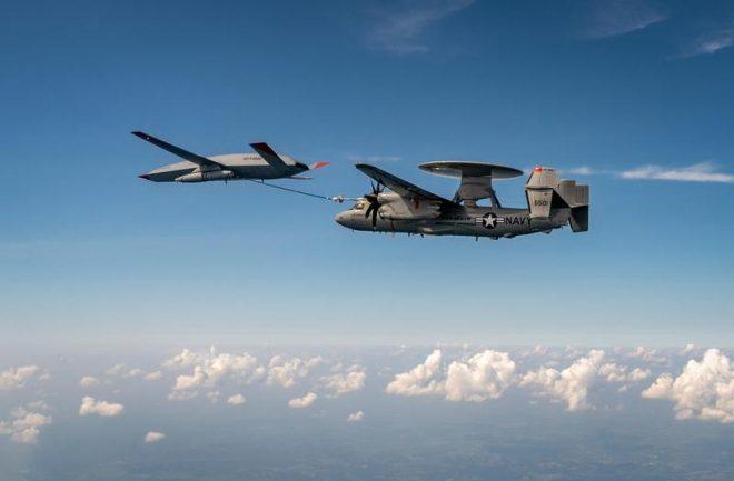 Boeing MQ-25 Prototype Refuels E-2D Advanced Hawkeye