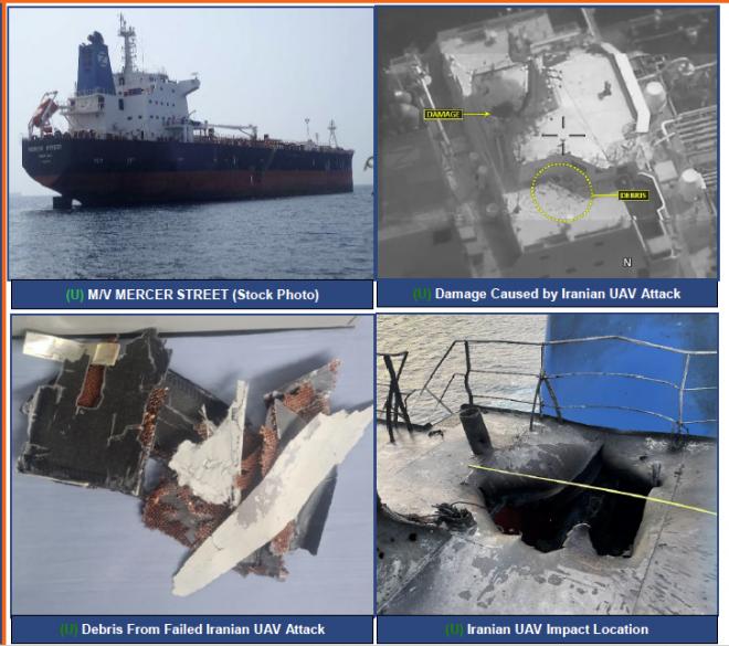 U.S. Says New Iranian 'Kamikaze' Drone Killed Two in Merchant Ship Attack; U.K., U.S. Condemn Tehran for Attack