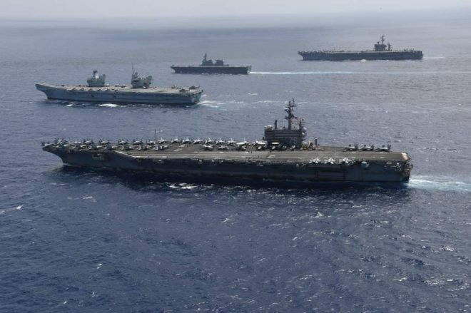 U.S., U.K. Aircraft Carriers Drill with Japanese Big Deck Warship  in the Western Pacific